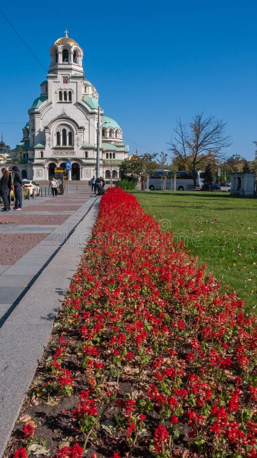 Amazing view of Cathedral Saint Alexander Nevski in Sofia. SOFIA, BULGARIA - OCTOBER 5, 2018: Amazing view of Cathedral Saint Alexander Nevski in Sofia, Bulgaria royalty free stock photos