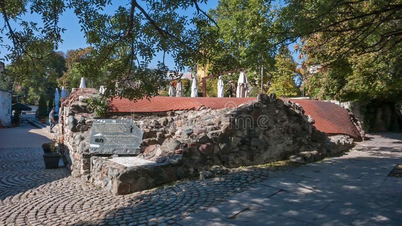 Remnants of sixteenth century Turkish barracks in Sofia. SOFIA, BULGARIA - OCTOBER 5, 2018: Remnants of sixteenth century Turkish barracks in Sofia, Bulgaria royalty free stock photo