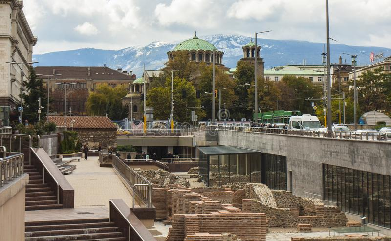 SOFIA, BULGARIA - OCTOBER 09, 2017: Saint Nedelya cathedral build in 1856 - 1867 year stock images