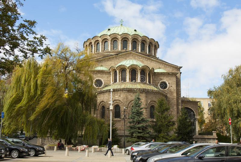 SOFIA, BULGARIA - OCTOBER 09, 2017: Saint Nedelya orthodox cathedral build in 1856 - 1867 year royalty free stock images