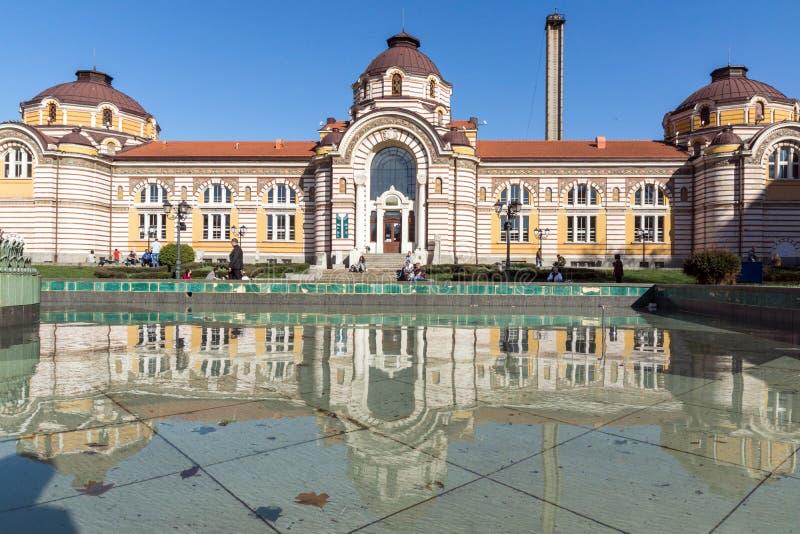 SOFIA BULGARIEN - APRIL 1, 2017: Centralt mineraliskt bad - historiemuseum av Sofia royaltyfri fotografi