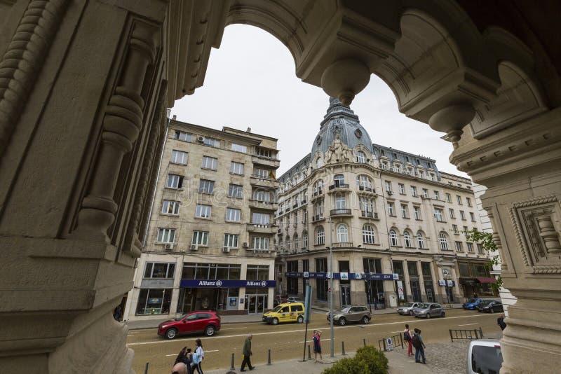 SOFIA BULGARIEN - APRIL 14, 2016: Centret av Sofia, är largen arkivbild
