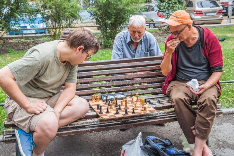 SOFIA, BULGARIJE - JULI 15, 2017: De niet geïdentificeerde mensen spelen schaak bij de Nationale Theatertuin stock foto