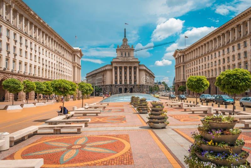 Sofia, Bulgarije - 6 13 2018: Onafhankelijkheidsvierkant stock afbeelding