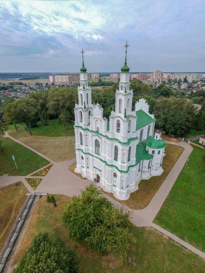Sofia Cathedral in Polotsk, Belarus. Drone HDR-photo royalty free stock photography