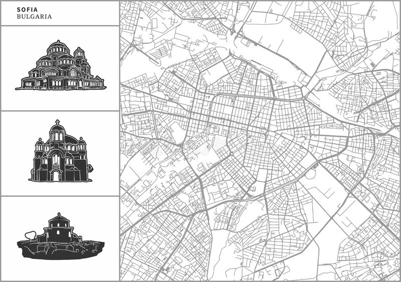 Sofia city map with hand-drawn architecture icons. All drawigns, map and background separated for easy color change. Easy repositioning in vector version stock illustration