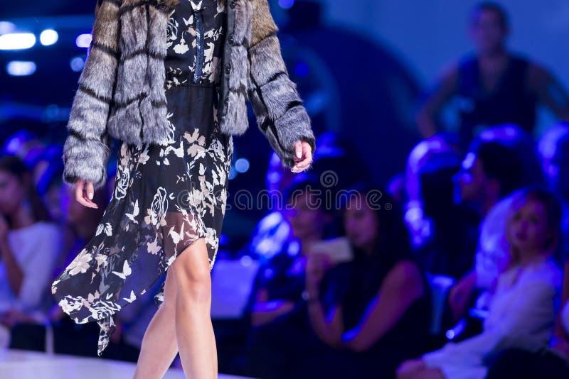 Sofia Fashion Week female furry jacket stock photography
