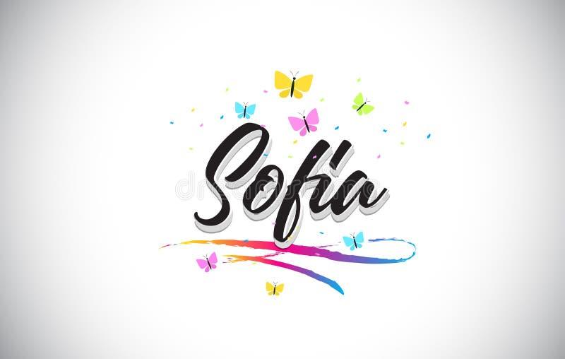 Sofia Handwritten Vector Word Text con le farfalle e variopinto mormorano royalty illustrazione gratis