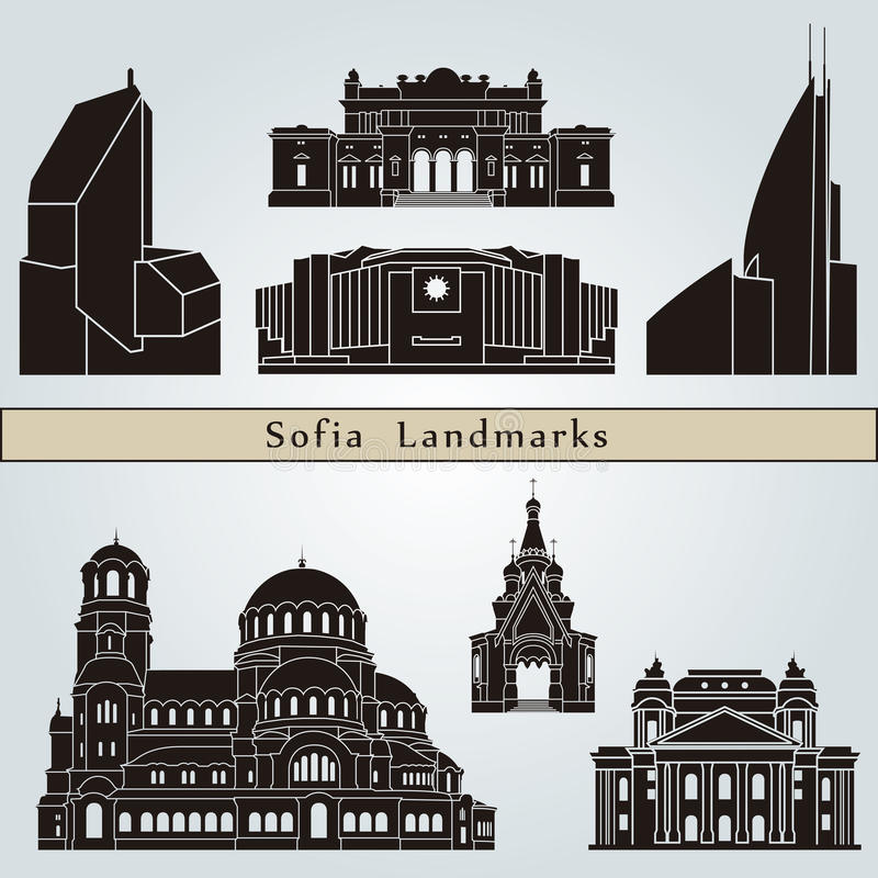Sofia landmarks and monuments. On blue background in editable vector file