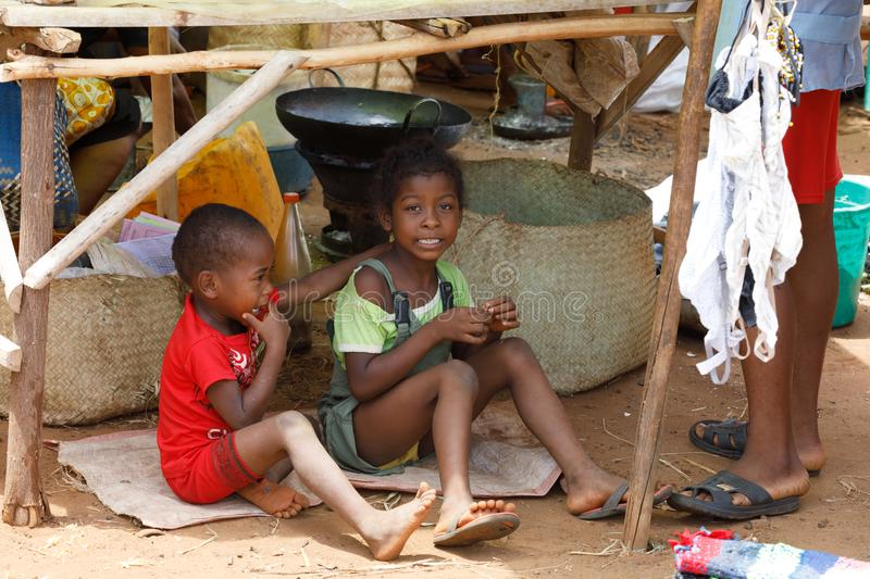 Malagasy children on rural Madagascar marketplace stock images