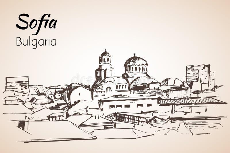 Sofia miasta panorama, Bułgaria nakreślenie na białym backgro ilustracji