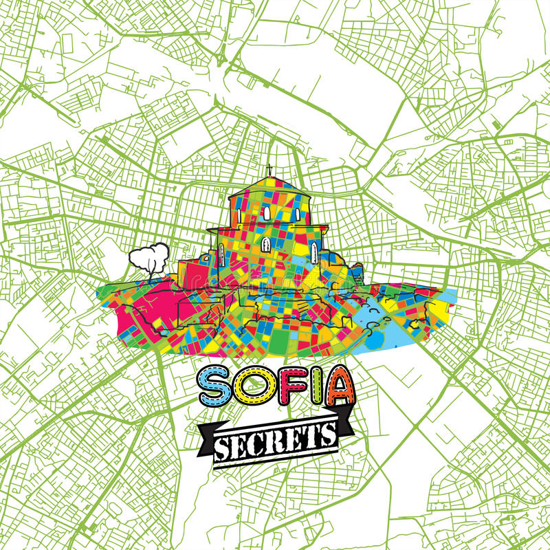 Sofia podróży sekretów sztuki mapa royalty ilustracja