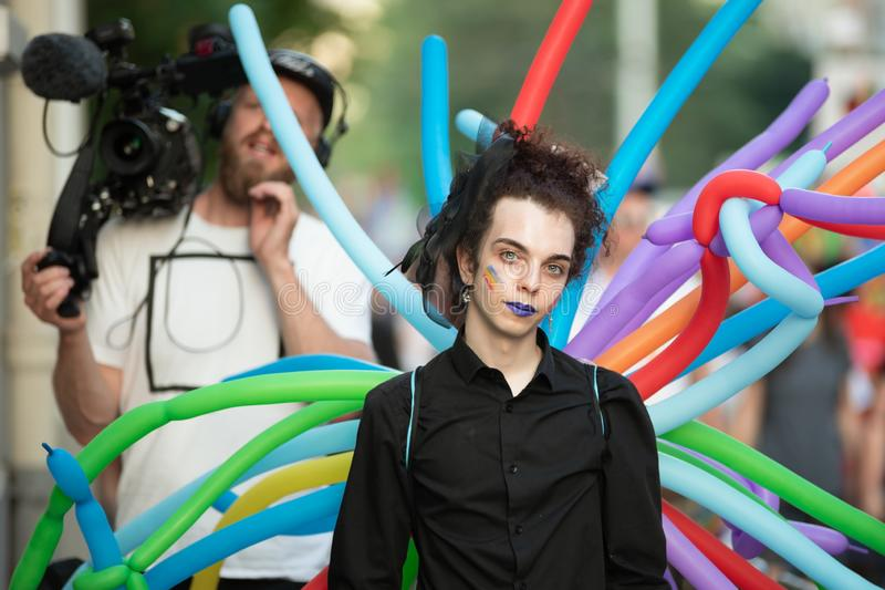 Sofia Pride årlig LGBT ståtar paricipants royaltyfria bilder