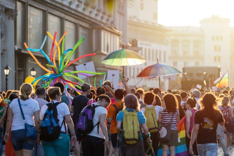 Sofia Pride Parade Participants immagini stock libere da diritti