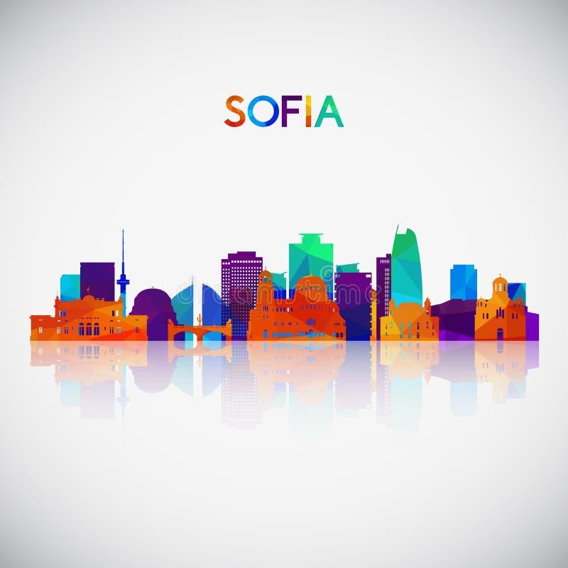 Sofia skyline silhouette i färgstark geometrisk stil stock illustrationer