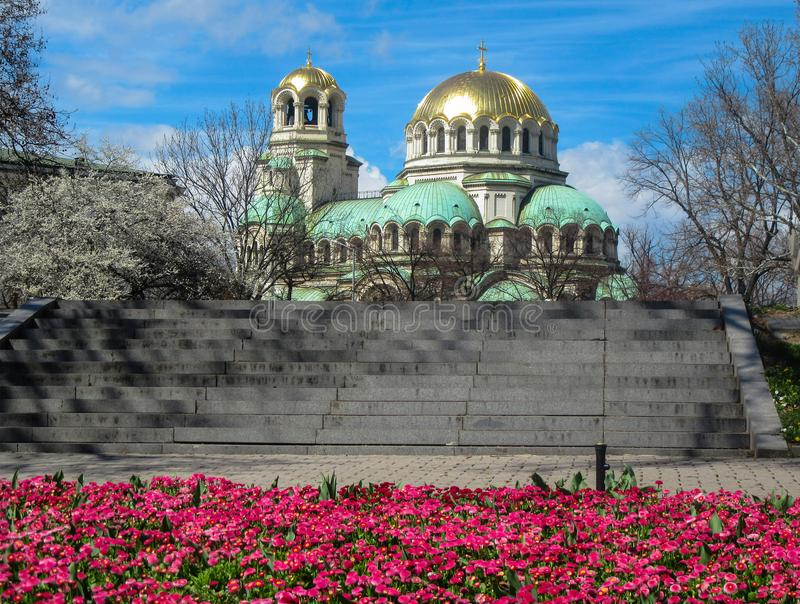 Sofia Spring and Alexander Nevski Temple, Bulgaria. St. Alexander Nevski is an Orthodox temple-monument in Sofia, which is a cathedral temple of the Bulgarian royalty free stock photography