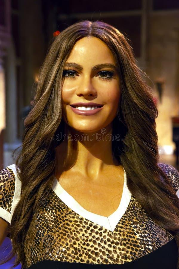 Sofia Vergara in Mevrouw Tussauds van New York stock afbeelding