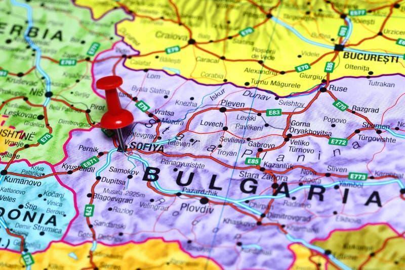 Sofiya fixou em um mapa de Europa imagens de stock royalty free