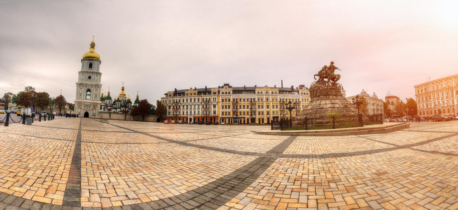 Sofiyska square panorama with monument of Bohdan Khmelnytsky on right side stock image