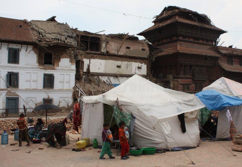 Soforthilfe-Zelte im Durbar-Quadrat-nach 2015 Erdbeben stockbilder