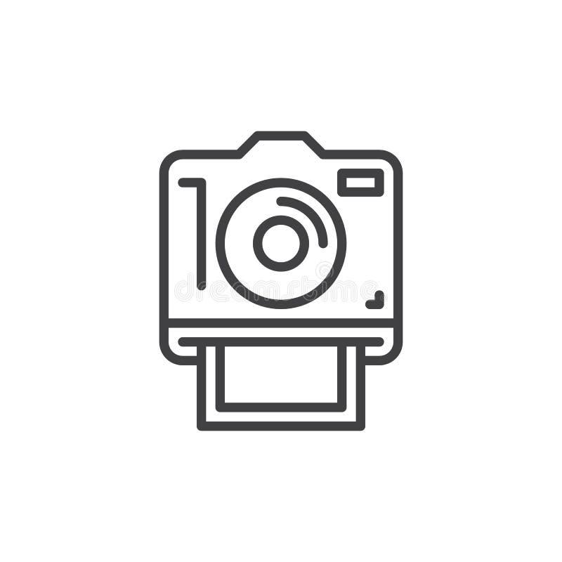 Sofortige Fotokameralinie Ikone, Entwurfsvektorzeichen stock abbildung