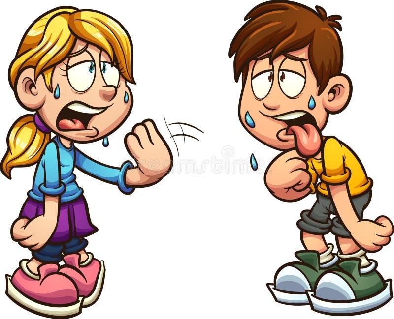 Sofrimento do menino e da menina do calor ilustração royalty free