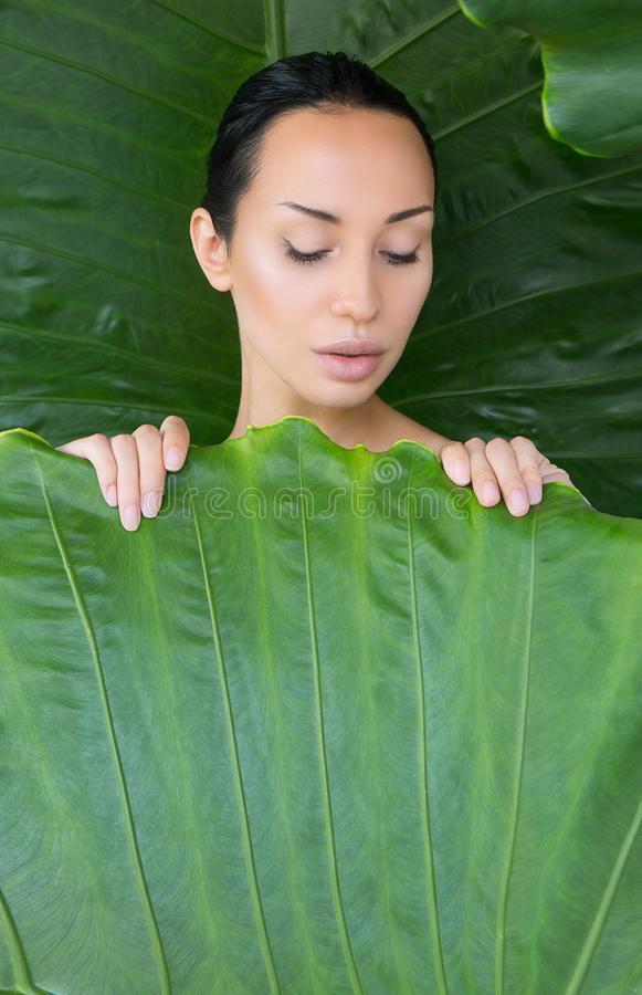 Soft bed of leaves. Portrait of beautiful young woman looking tr royalty free stock image