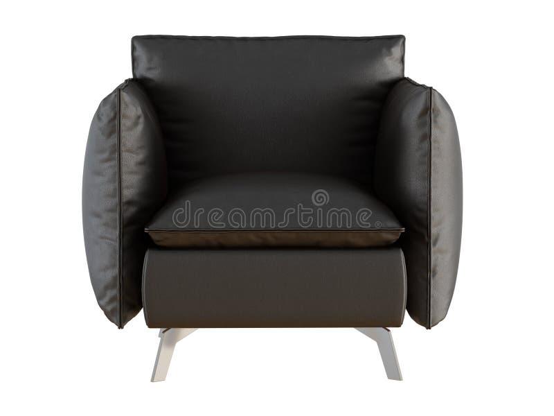 soft black armchair iron legs white background