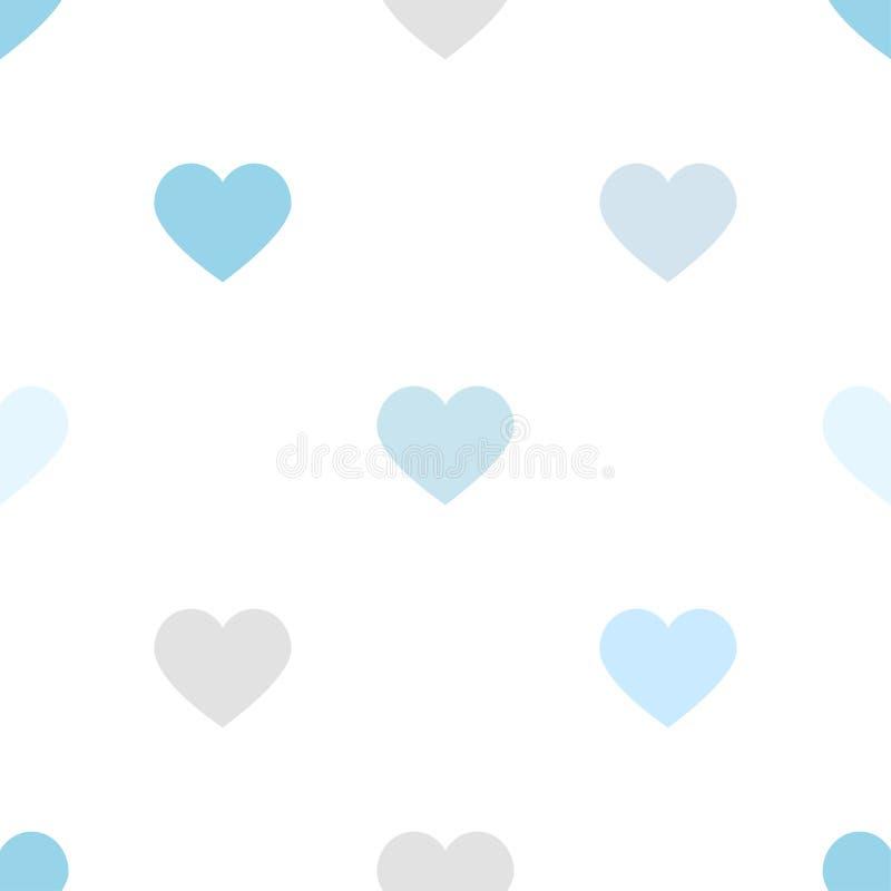 Soft blue hearts pattern romantic background happy valentine`s day vector illustration