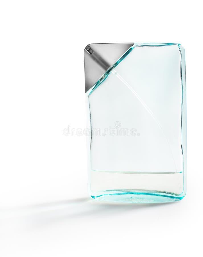 Soft blue perfume bottle isolated royalty free stock image