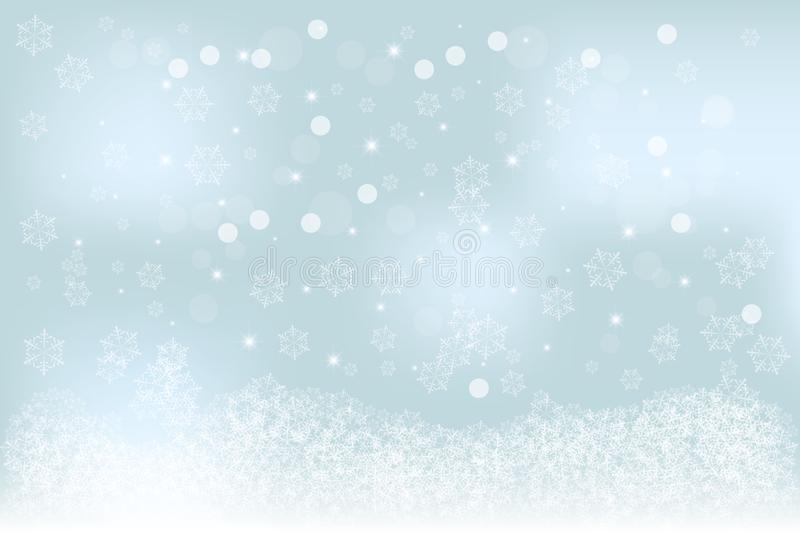 Christmas specific soft blurred winter background with blue, turquoise bokeh, snowflakes pattern stock illustration