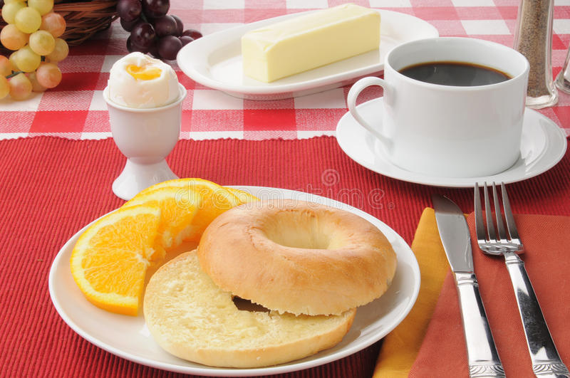 Soft boiled with a bagel royalty free stock images