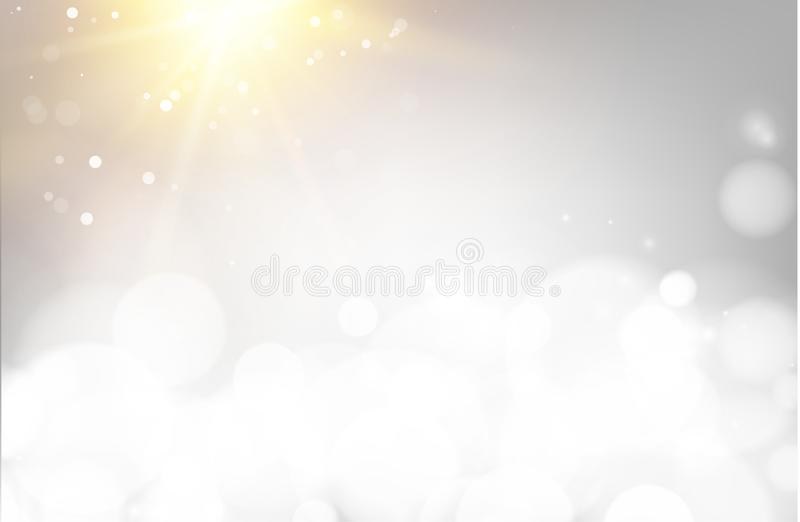 Soft bokeh and lights. Abstract shining space futuristic background. Fasion golden background. Bokeh light circles over vector illustration