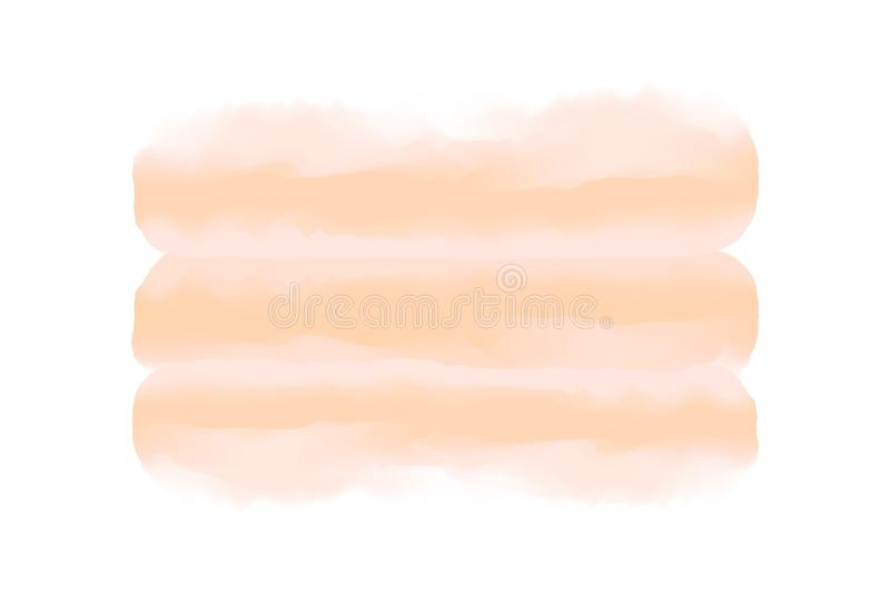 Soft brown digital paint brush stroke in concept hand drawn style water color texture white background, art water color painting vector illustration