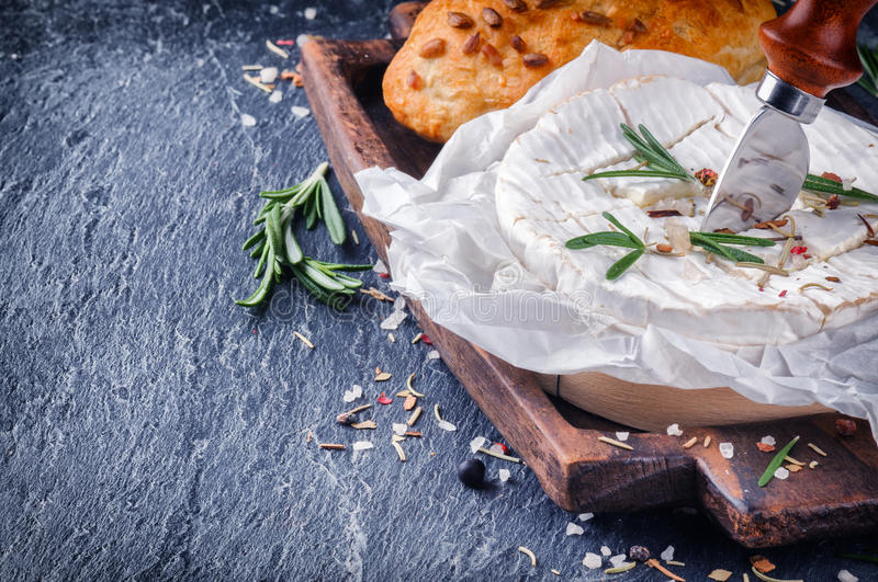 Soft Camembert cheese. With herbs royalty free stock photography