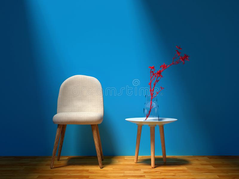 Soft chair and red plant - blue wall living room royalty free stock photos
