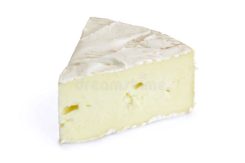 Soft Cheese. A slice of camembert cheese stock images