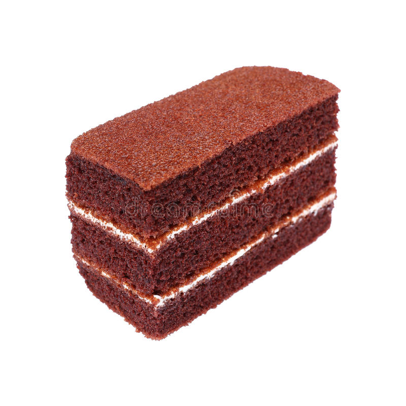 soft chocolate cake with white cream isolated on white stock image