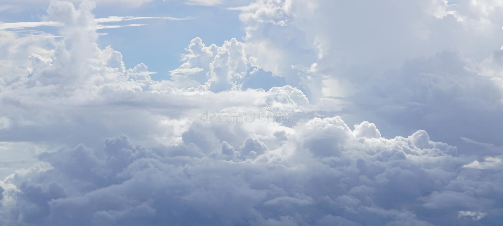 Soft clouds above the the clouds background stock images