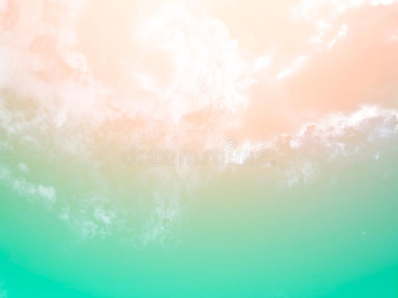 Soft clouds  In the sky with gentle pastel gradients. The sky background and soft natural clouds have pastel gradients in a variety of colors stock photo