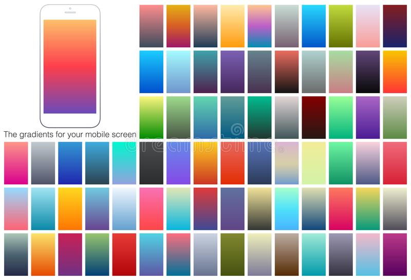 Soft color gradient backgrounds set. Modern screens for mobile app. Abstract colorful vector gradients for card, brochure, flyer. Soft color gradient backgrounds stock illustration