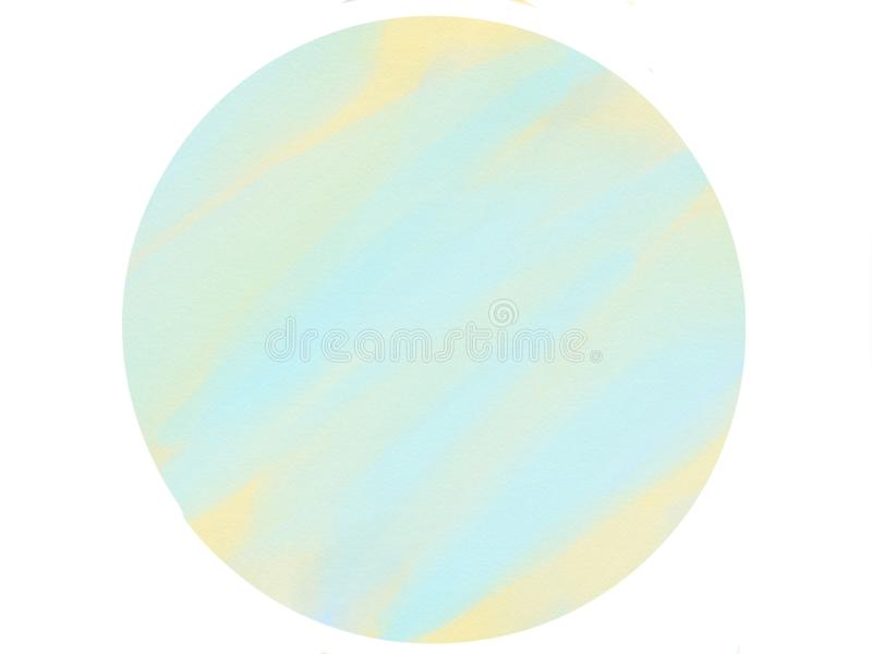 Soft-color vintage pastel abstract circle logo watercolor background with colored shades of blue and yellow color. Illustration royalty free stock image