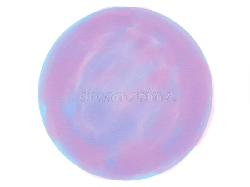 Soft-color vintage pastel abstract watercolor circle logo background with colored shades of blue, pink color. Illustration stock photo