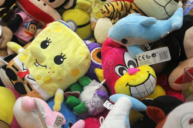 Soft colourful toys for kids stock photos