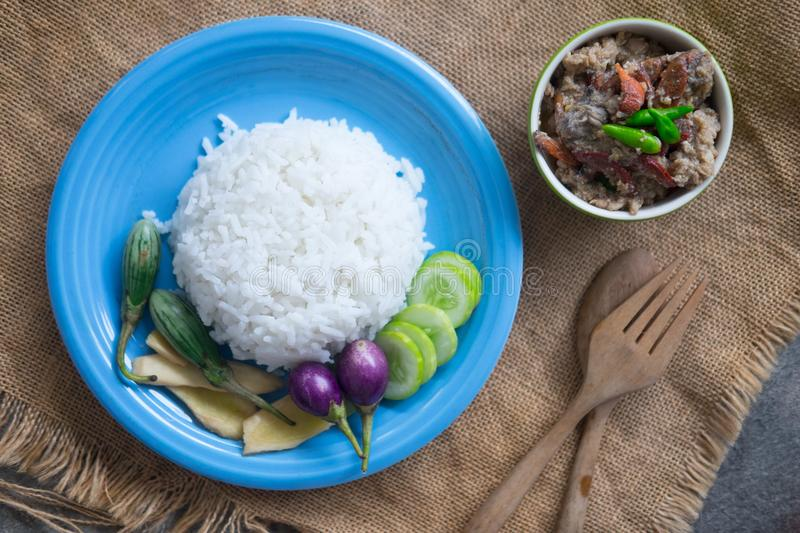 Soft cooked rice served with stew crab stock photos