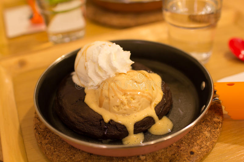 Soft cookie chocolate with ice cream stock images