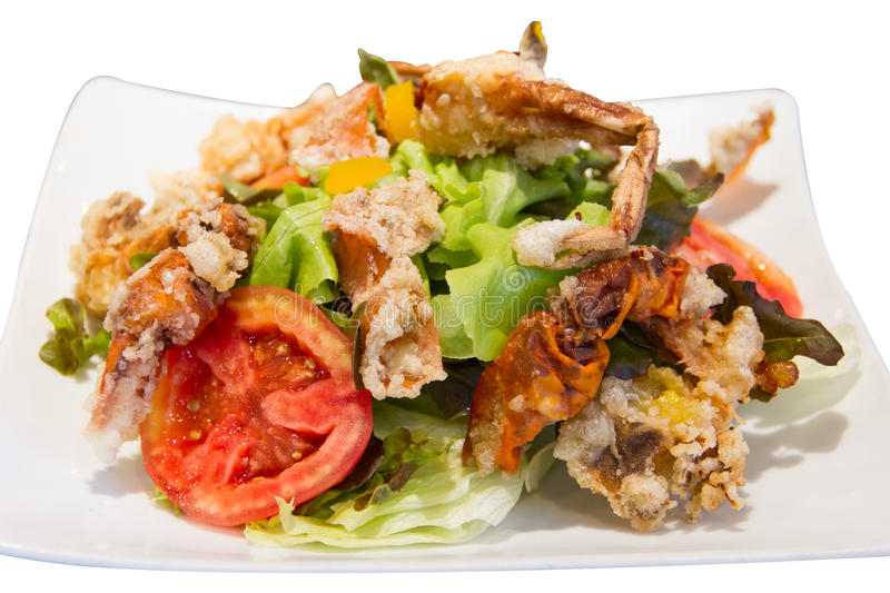 Soft Crab Fried Salad Royalty Free Stock Images