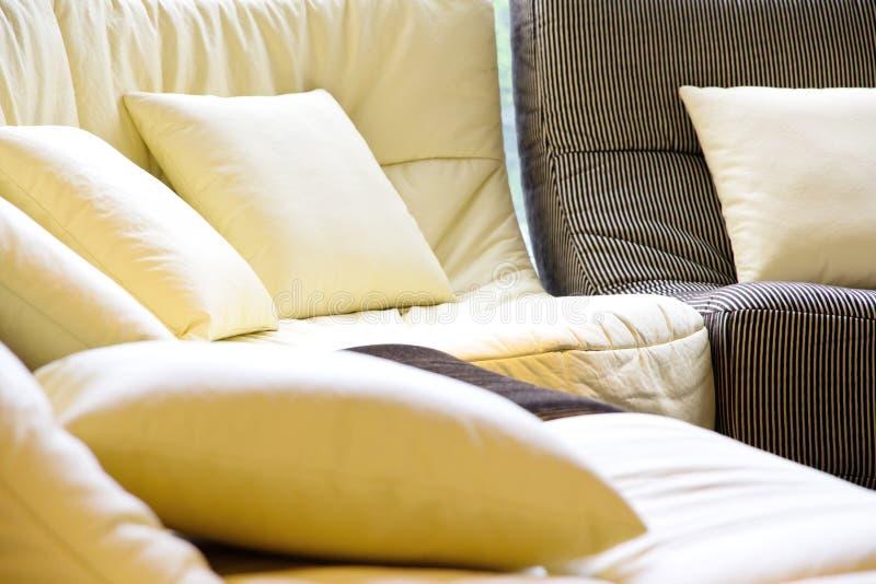 Soft cushion in sofa royalty free stock photos