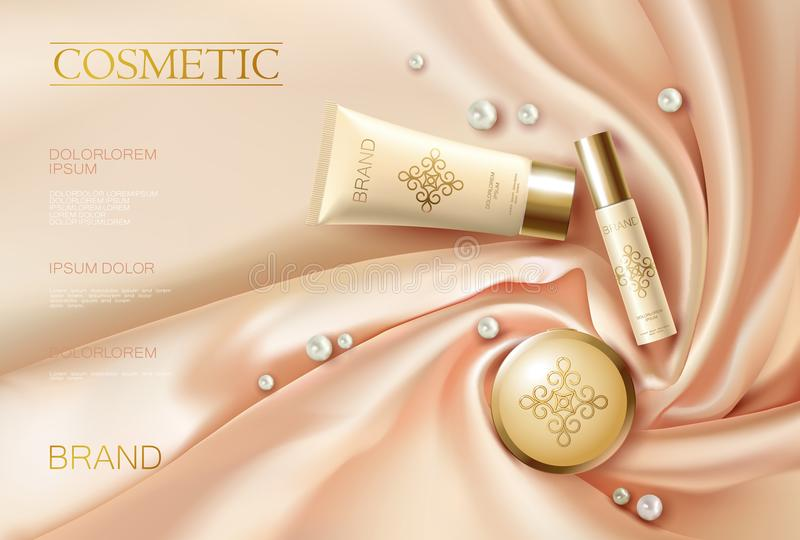 Soft 3d realistic cosmetic ad. Silk glowing fabric light rose beige golden package compact powder. Promotional banner. Template design vector illustration art stock illustration