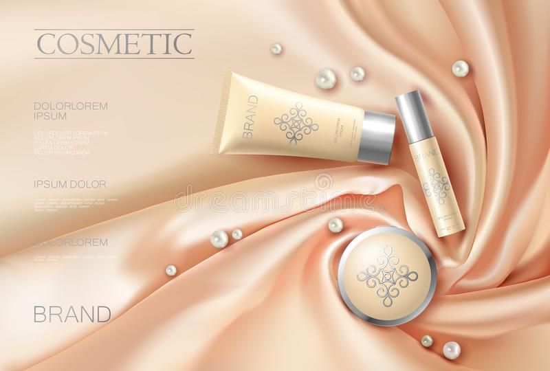 Soft 3d realistic cosmetic ad. Silk glowing fabric light rose beige silver package stock illustration